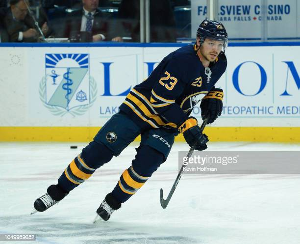 Sam Reinhart of the Buffalo Sabres before the game against the Boston Bruins at the KeyBank Center on October 4 2018 in Buffalo New York