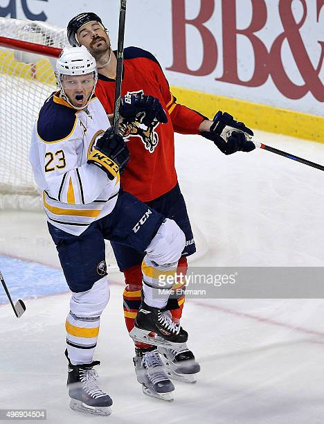 Sam Reinhart of the Buffalo Sabres celebrates a goal during a game against the Florida Panthers at BBT Center on November 12 2015 in Sunrise Florida