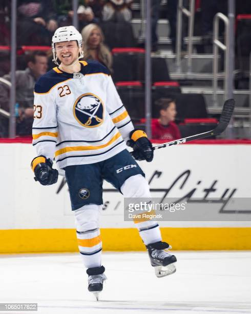 Sam Reinhart of the Buffalo Sabres celebrates his game winning shootout goal following an NHL game against the Detroit Red Wings at Little Caesars...