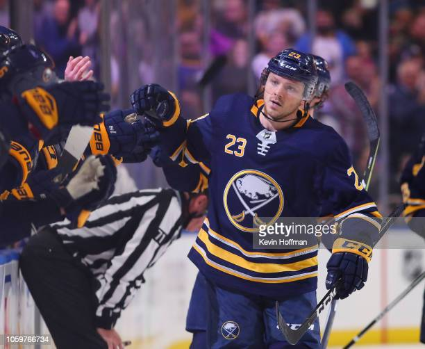 Sam Reinhart of the Buffalo Sabres during the game against the Montreal Canadiens at the KeyBank Center on October 25 2018 in Buffalo New York