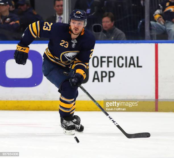 Sam Reinhart of the Buffalo Sabres during the game against the Montreal Canadiens at KeyBank Center on March 23 2018 in Buffalo New York Sam Reinhart