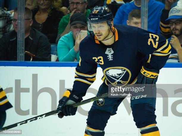 Sam Reinhart of the Buffalo Sabres during the game against the Boston Bruins at the KeyBank Center on October 4 2018 in Buffalo New York