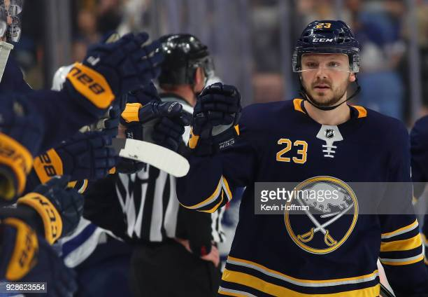 Sam Reinhart of the Buffalo Sabres during the game against the Toronto Maple Leafs at KeyBank Center on March 5 2018 in Buffalo New York