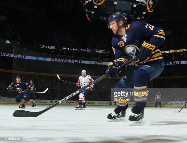 Sam Reinhart of the Buffalo Sabres follows the play during an NHL game against the Washington Capitals on February 23 2019 at KeyBank Center in...