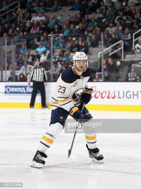 Sam Reinhart of the Buffalo Sabres in action against the San Jose Sharks at SAP Center on October 18 2018 in San Jose California