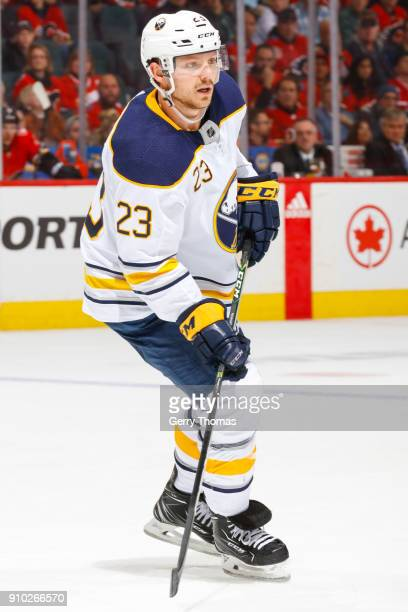 Sam Reinhart of the Buffalo Sabres in an NHL game on January 22 2018 at the Scotiabank Saddledome in Calgary Alberta Canada