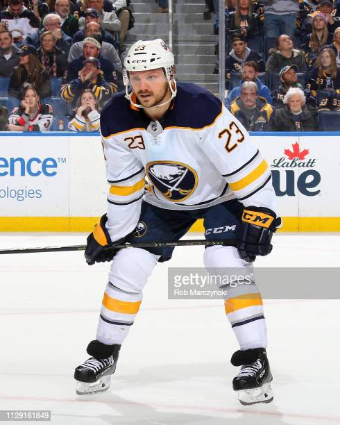 Sam Reinhart of the Buffalo Sabres prepares for a faceoff during an NHL game against the Carolina Hurricanes on February 7 2019 at KeyBank Center in...