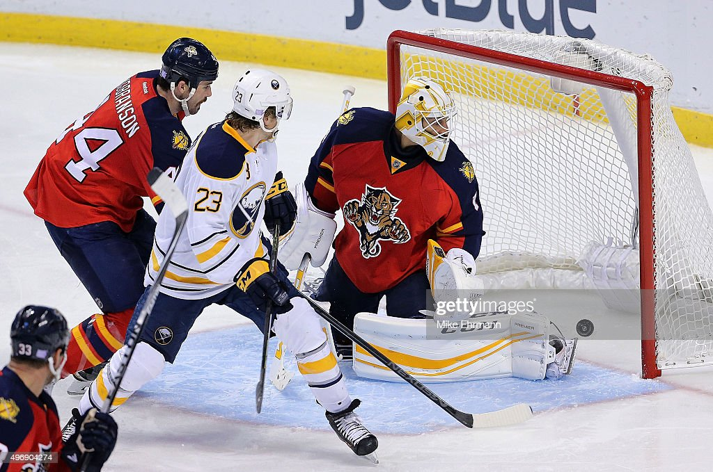 Sam Reinhart #23 of the Buffalo Sabres scores a goal on Roberto Luongo #1 of the Florida Panthers during a game at BB&T Center on November 12, 2015 in Sunrise, Florida.