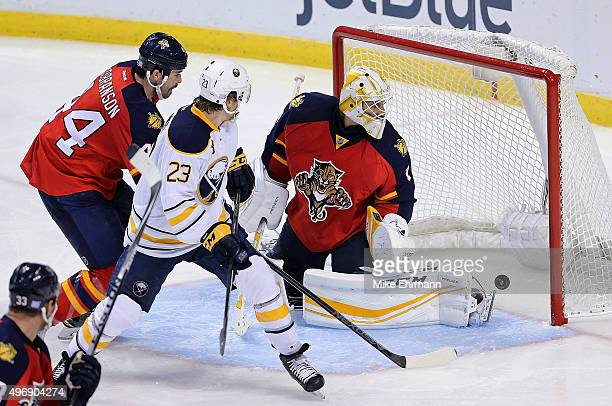 Sam Reinhart of the Buffalo Sabres scores a goal on Roberto Luongo of the Florida Panthers during a game at BBT Center on November 12 2015 in Sunrise...