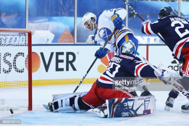 Sam Reinhart of the Buffalo Sabres scores a second period goal against Henrik Lundqvist of the New York Rangers during the 2018 Bridgestone NHL...