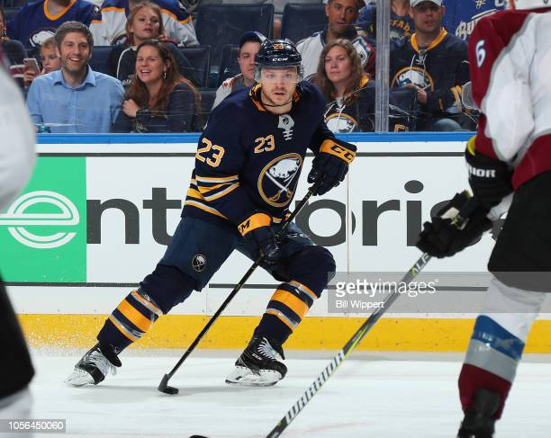 Sam Reinhart of the Buffalo Sabres skates against the Colorado Avalanche during an NHL game on October 11 2018 at KeyBank Center in Buffalo New York