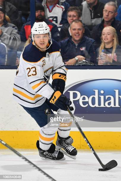 Sam Reinhart of the Buffalo Sabres skates against the Columbus Blue Jackets on October 27 2018 at Nationwide Arena in Columbus Ohio