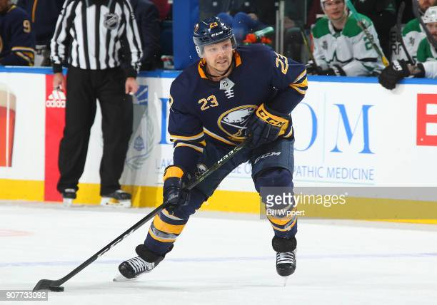 Sam Reinhart of the Buffalo Sabres skates against the Dallas Stars during an NHL game on January 20 2018 at KeyBank Center in Buffalo New York Dallas...
