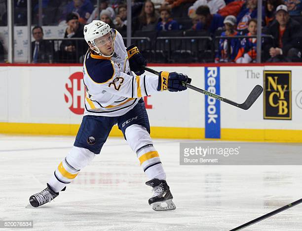 Sam Reinhart of the Buffalo Sabres skates against the New York Islanders at the Barclays Center on April 9 2016 in the Brooklyn borough of New York...