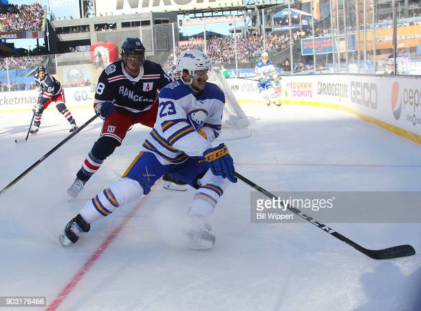 Sam Reinhart of the Buffalo Sabres skates against the New York Rangers during the 2018 Bridgestone NHL Winter Classic at Citi Field on January 1 2018...