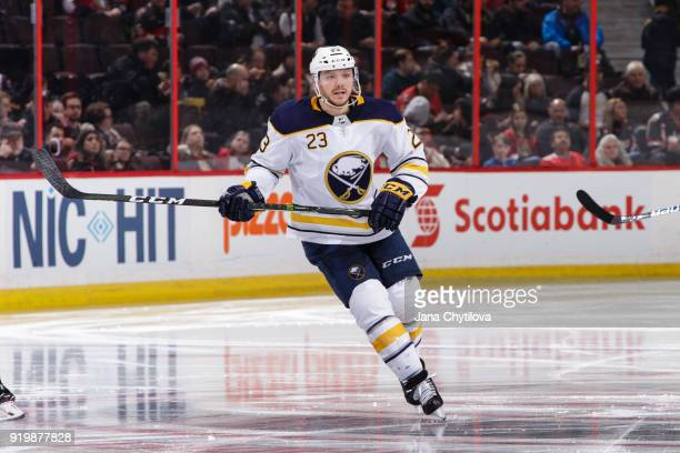 Sam Reinhart of the Buffalo Sabres skates against the Ottawa Senators at Canadian Tire Centre on February 15 2018 in Ottawa Ontario Canada