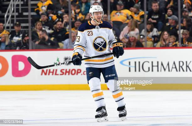 Sam Reinhart of the Buffalo Sabres skates against the Pittsburgh Penguins at PPG Paints Arena on November 19 2018 in Pittsburgh Pennsylvania