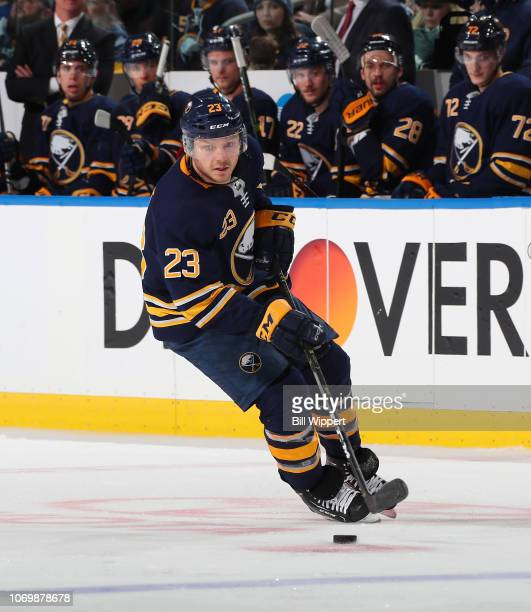 Sam Reinhart of the Buffalo Sabres skates against the Tampa Bay Lightning during an NHL game on November 13 2018 at KeyBank Center in Buffalo New York