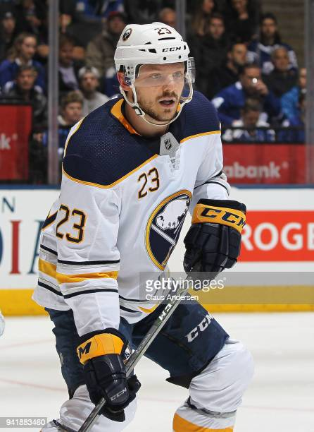 Sam Reinhart of the Buffalo Sabres skates against the Toronto Maple Leafs during an NHL game at the Air Canada Centre on April 2 2018 in Toronto...