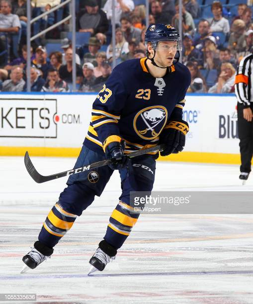 Sam Reinhart of the Buffalo Sabres skates against the Vegas Golden Knights during an NHL game on October 8 2018 at KeyBank Center in Buffalo New York