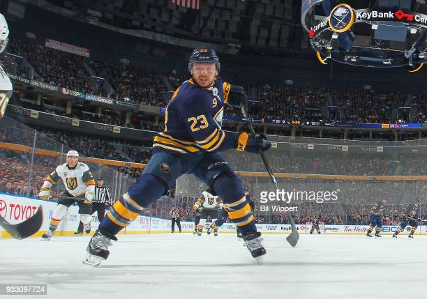 Sam Reinhart of the Buffalo Sabres skates during an NHL game against the Vegas Golden Knights on March 10 2018 at KeyBank Center in Buffalo New York