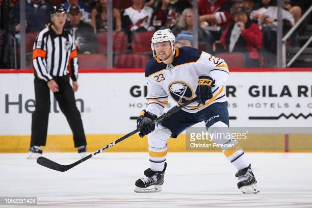 Sam Reinhart of the Buffalo Sabres skates during the NHL game against the Arizona Coyotes at Gila River Arena on October 13 2018 in Glendale Arizona...