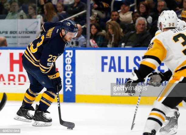 Sam Reinhart of the Buffalo Sabres skates into the Pittsburgh Penguins zone with the puck during the second period at the KeyBank Center on March 21...