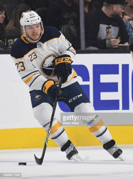 Sam Reinhart of the Buffalo Sabres skates with the puck against the Vegas Golden Knights in the first period of their game at TMobile Arena on...