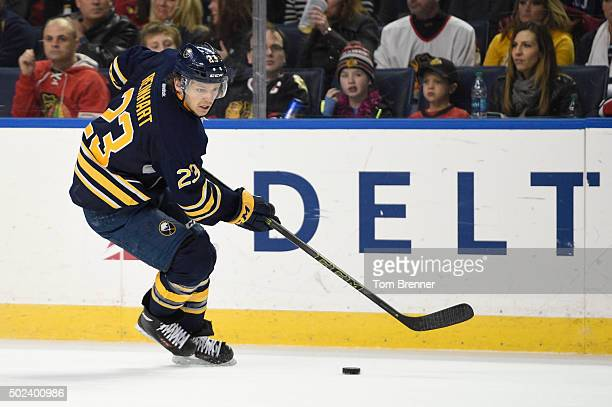 Sam Reinhart of the Buffalo Sabres skates with the puck during the game against the Chicago Blackhawks at the First Niagara Center on December 19...