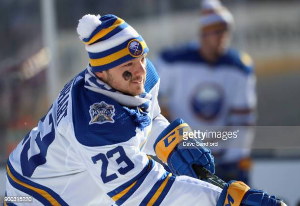 Sam Reinhart of the Buffalo Sabres warms up before playing in the 2018 Bridgestone NHL Winter Classic at Citi Field on January 1 2018 in the Flushing...
