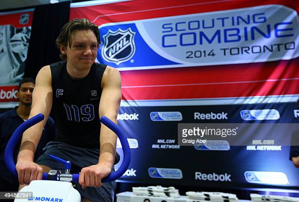 Sam Reinhart starts the bike test during the NHL Combine testing May 31 2014 at the Westin Bristol in Toronto Ontario Canada