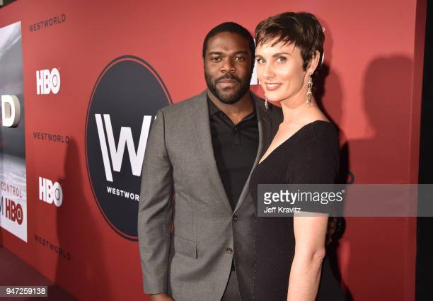 Sam Richardson and Nicole Boyd attend the Los Angeles Season 2 premiere of the HBO Drama Series WESTWORLD at The Cinerama Dome on April 16 2018 in...