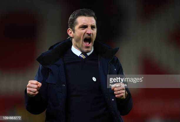 Sam Ricketts manager of Shrewsbury Town celebrates at full time during the FA Cup Third Round Replay match between Stoke City and Shrewsbury Town at...