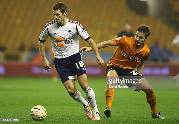 Sam Ricketts of Bolton moves away from Kevin Doyle during the npower Championship match between Wolverhampton Wanderers and Bolton Wanderers at...