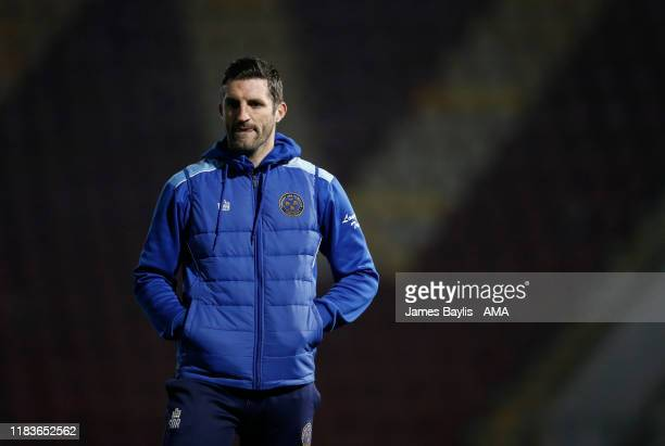 Sam Ricketts the head coach / manager of Shrewsbury Town before the FA Cup First Round Replay match between Bradford City and Shrewsbury Town at...