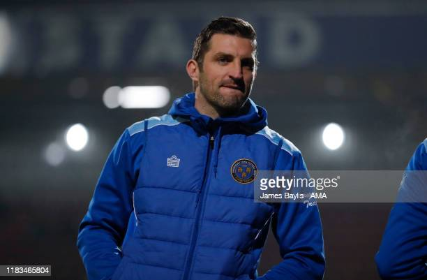 Sam Ricketts the head coach / manager of Shrewsbury Town during the FA Cup First Round Replay match between Bradford City and Shrewsbury Town at...