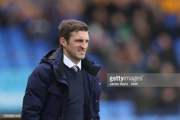 Sam Ricketts the head coach / manager of Shrewsbury Town during the Sky Bet League One match between Shrewsbury Town and Doncaster Rovers at...