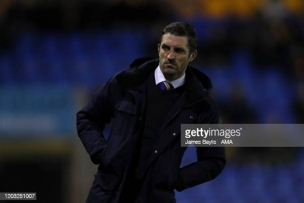 Sam Ricketts the head coach / manager of Shrewsbury Town during the Sky Bet League One match between Shrewsbury Town and Tranmere Rovers at...