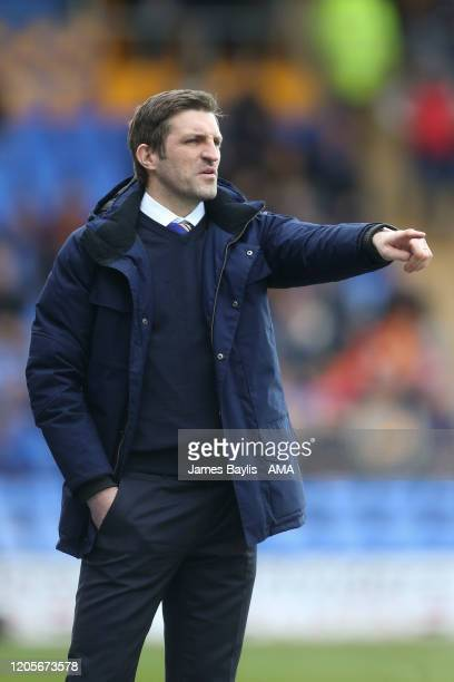 Sam Ricketts the head coach / manager of Shrewsbury Town during the Sky Bet League One match between Shrewsbury Town and Oxford United at Montgomery...