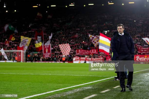 Sam Ricketts the head coach / manager of Shrewsbury Town with Kop end in background during the FA Cup Fourth Round Replay match between Liverpool and...