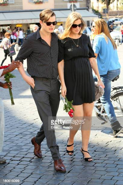 Sam Riley and Alexandra Maria Lara sighting at Piazza Del Popolo on September 14 2013 in Rome Italy