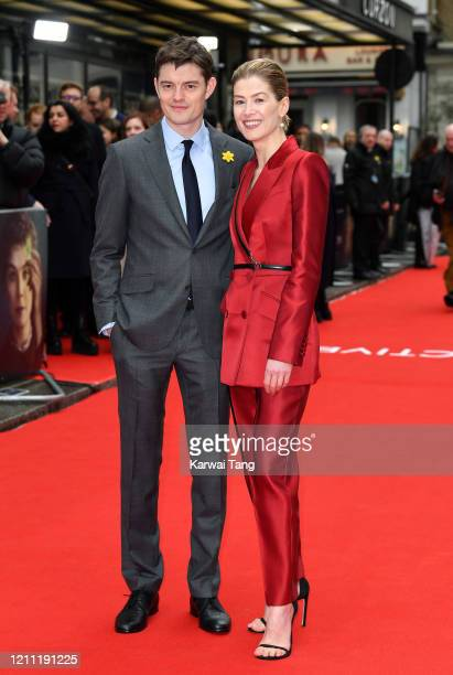 Sam Riley and Rosamund Pike attend the Radioactive UK Premiere at The Curzon Mayfair on March 08 2020 in London England