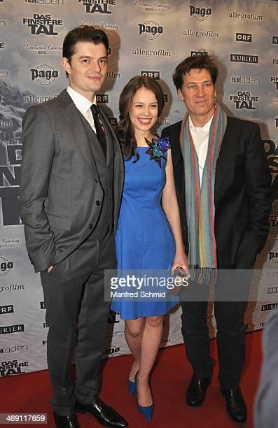 Sam Riley Paula Beer and Tobias Moretti attend the Austrian premiere of 'Das Finstere Tal' at Gartenbau cinema on on February 11 2014 in Vienna...