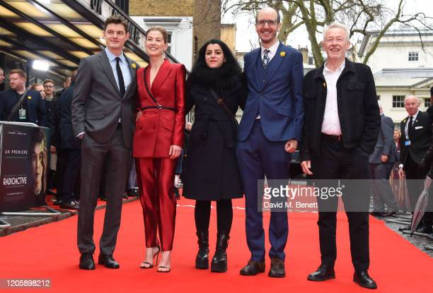 Sam Riley Rosamund Pike Marjane Satrapi Jack Thorne and Paul Webster attend the UK Premiere of Radioactive at The Curzon Mayfair on March 8 2020 in...