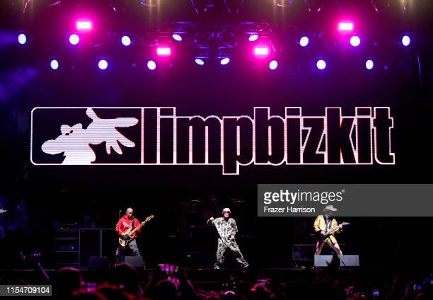 Sam Rivers, Fred Durst and Wes Borland of Limp Bizkit perform onstage at KROQ Weenie Roast & Luau at Doheny State Beach on June 08, 2019 in Dana...