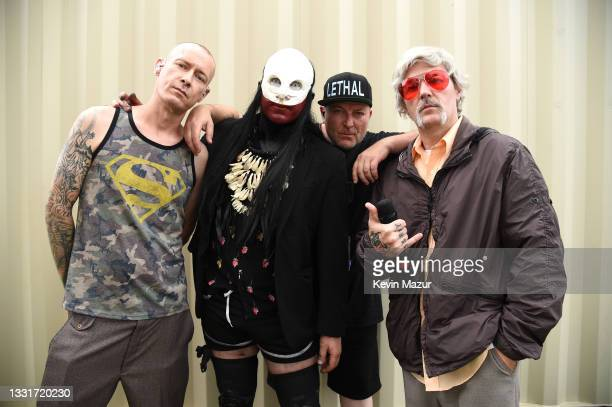 Sam Rivers, Wes Borland, DJ Lethal and Fred Durst of Limp Bizkit backstage at Lollapalooza 2021 at Grant Park on July 31, 2021 in Chicago, Illinois.