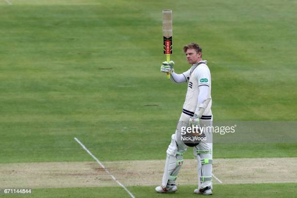 Sam Robson celebrates scoring a century of runs for Middlesex at Lords Cricket Ground on April 21 2017 in London England