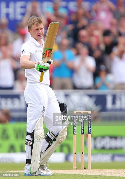 Sam Robson of England celebrates reaching his century during day two of the 2nd Investec Test match between England and Sri Lanka at Headingley...