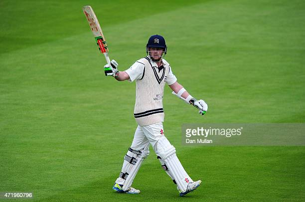 Sam Robson of Middlesex acknowledges the crowd after being dismissed for 178 during day one of the LV County Championship match between Middlesex and...