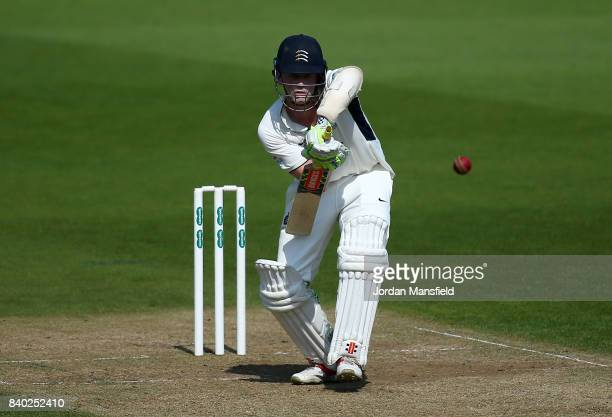Sam Robson of Middlesex bats during day one of the Specsavers County Championship Division One match between Surrey and Middlesex at The Kia Oval on...